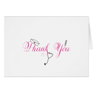 Nurse Thank You Note Hot Pink Hand Calligraphy RN Card