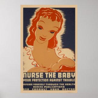 Nurse The Baby WPA Vintage Poster