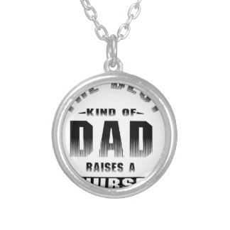 Nurse, the best kind of dad silver plated necklace