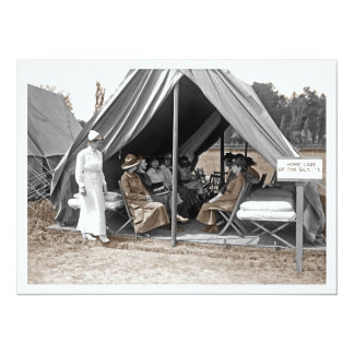 "Nurse Trainees Sitting in a Tent 5.5"" X 7.5"" Invitation Card"