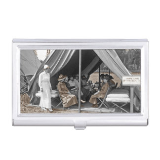 Nurse Trainees Sitting in a Tent Business Card Cases