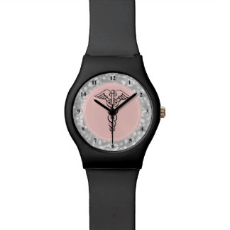 Nurse Watch | Caduceus Symbol Pink Silver