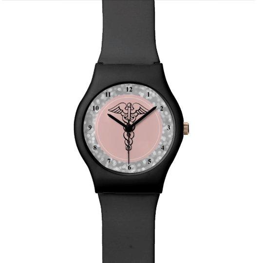 Nurse Watch | Caduceus Symbol Pink Silver