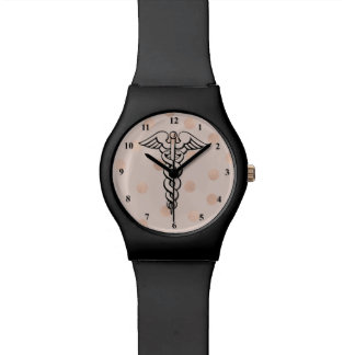 Nurse Watch Medical Caduceus Symbol Rose Gold Dots