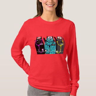 "Nurse Whimsical Cat Art Shirts  ""Cat-ty Nurses"""