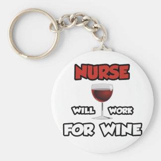 Nurse ... Will Work For Wine Keychain