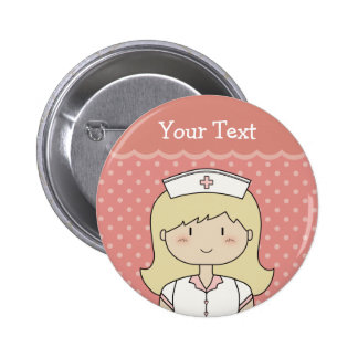 Nurse with blonde hair 2 inch round button
