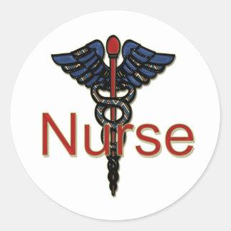 Nurse with Caduceus Round Sticker