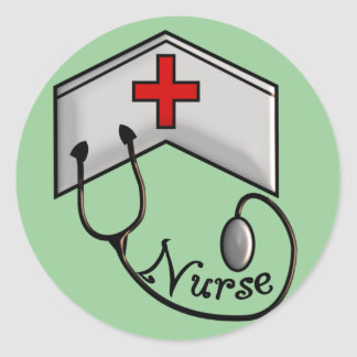 Nurse with EMBOSSED CAP & STETHOSCOPE Classic Round Sticker