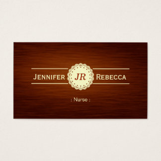 Nurse - Wood Grain Monogram Business Card