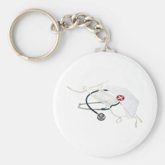 NurseHatMask082309 Basic Round Button Keychain