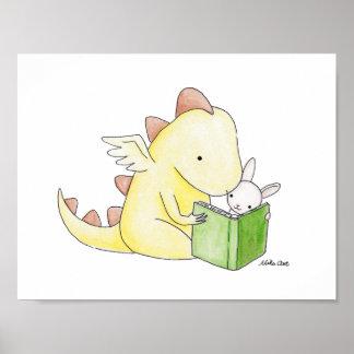 Nursery Art Decor Dragon & Bunny Reading Book Poster