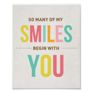 Nursery art print Inspirational quote Smiles
