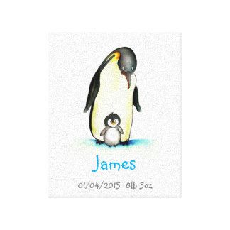 Nursery Art with Penguin - Customize with Name Canvas Print