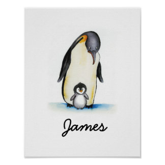 Nursery Art with Penguin - Customize with Name Poster