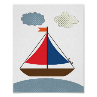 Nursery boat illustration for nautical theme rooms poster