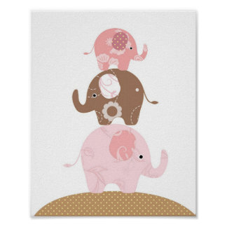 Nursery elephant art girls poster