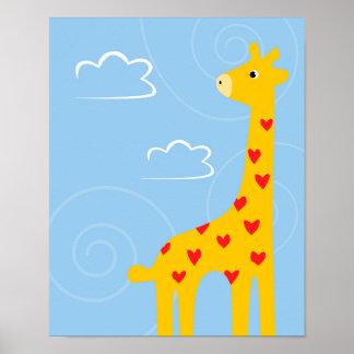 Nursery Giraffe illustration cute Savana art Poster