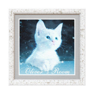 NURSERY HOME GIFT, BABY BOY CAT CANVAS WALL ART,