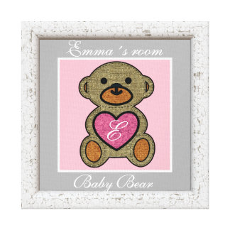 NURSERY ROOM, BABY BEAR PERSONAL  FAUX FRAMED ART CANVAS PRINT