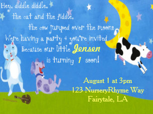 Nursery Ryme Birthday Party Invitation