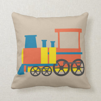 Nursery train illustration kids room decor throw pillow