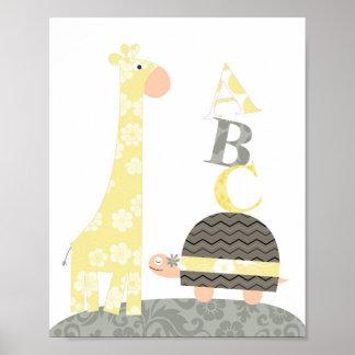 Nursery wall art(giraffe turtle alphabets) poster
