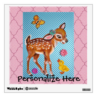 Nursery Wall Decal Pink and Blue Fawn Personalize