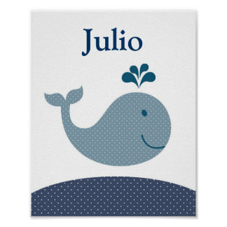 Nursery whale art for kids poster