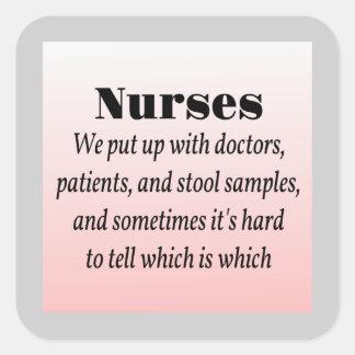 Nurses and Stool Samples Square Sticker