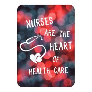nurses are the heart of healthcare bokeh card