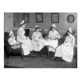 Nurses at Tea, early 1900s Postcard