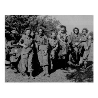 Nurses Beside Jeep WWII Postcard