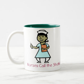 Nurses Call the Shots mug! Two-Tone Coffee Mug