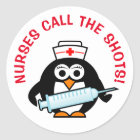 Nurses call the shots round penguin stickers