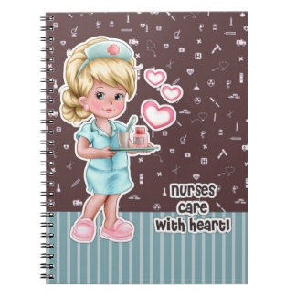 Nurses care with Heart. Nurses Day Gift Notebook