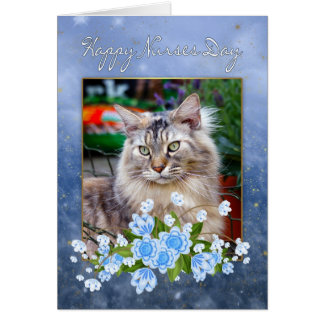 Nurse's Day Card, Maine Coon Cat, Cat Nurse's Day Card