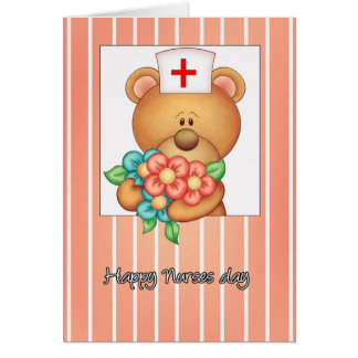 Nurses Day Card With Nurse Teddy Bear And Flowers