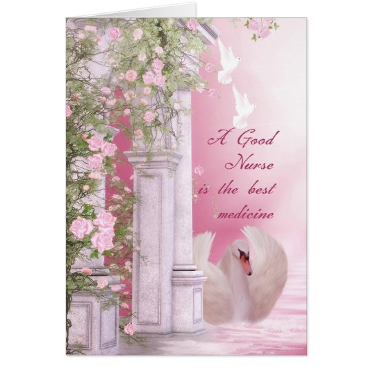Nurses Day Card With Swan Dove And Roses
