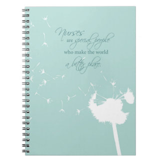 Nurses Day with Dandelion Blowing on Teal Notebooks