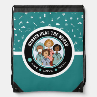Nurses Heal the World. Gift Drawstring Backpack