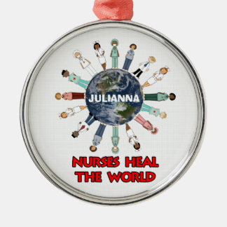 Nurses Heal the World with Name Christmas Silver-Colored Round Ornament