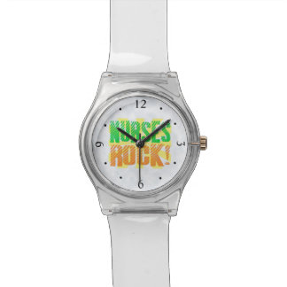 Nurses Rock, Orange/Green Fun Nurse Watch