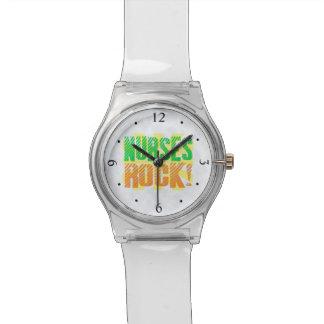 Nurses Rock, Orange/Green Fun Nurse Wrist Watches