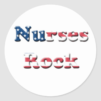 NURSES ROCK ROUND STICKER