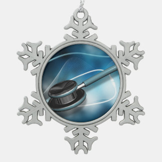 Nurses Stethoscopes Snowflake Pewter Christmas Ornament