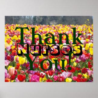 Nurses Thank You! poster art Nursing Week Tulips