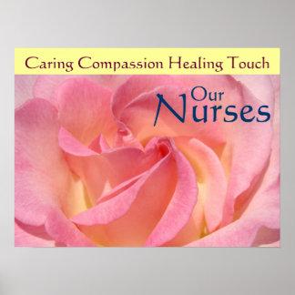 Nurse's Week posters Pink Rose Our Nurses Healing