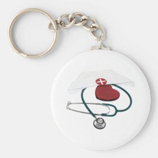 NursesHaveHeart082309 Basic Round Button Keychain