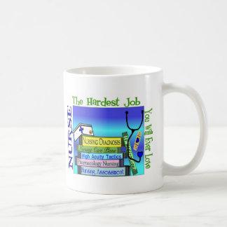 "Nursing ""Hardest Job You'll Ever Love"" Gifts Classic White Coffee Mug"